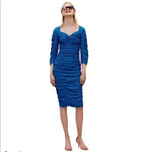 NWT Zara Blue Textured Dress With Ruching Size S